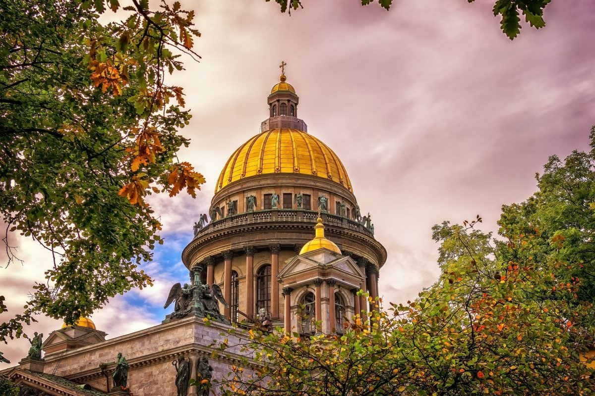Gilded church dome in St. Petersburg