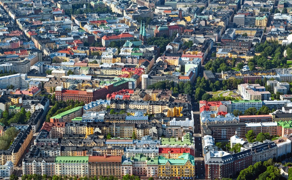 Aerial view of Helsinki capitol of Finland